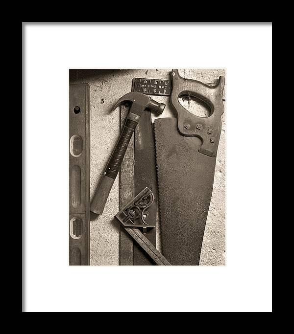 Tools Framed Print featuring the photograph Dad's Old Tools by Tony Ramos