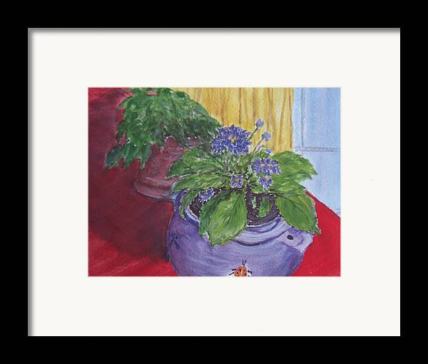 Still Life Framed Print featuring the painting Dads Violets by Pete Maier