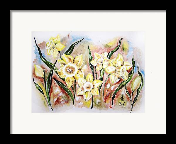 Floral Framed Print featuring the painting Daffodil Drama by Amanda Sanford