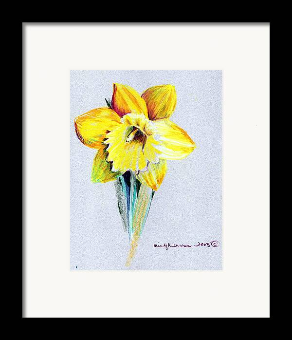 Daffodil Framed Print featuring the drawing Daffodil by Mindy Newman