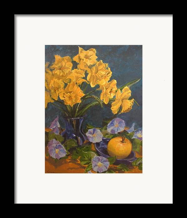 Still Life Framed Print featuring the painting Daffodils by Karen Ilari