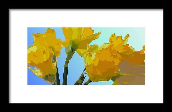 Daffodils Framed Print featuring the digital art Daffodils by Robert Bissett