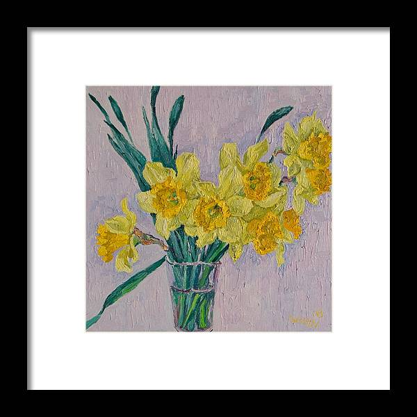 Daffodils Framed Print featuring the painting Daffodils by Vitali Komarov
