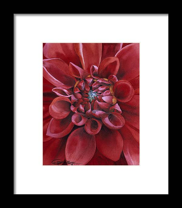 Flower Framed Print featuring the painting Dahlia by Craig Gallaway