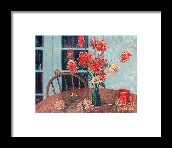 Still Life Framed Print featuring the painting Dahlias With Red Cup by Donald Maier