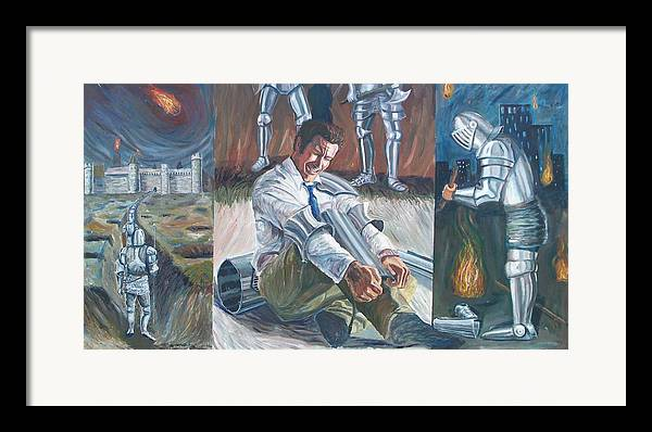 Surrealism Framed Print featuring the painting Daily Grind by Ryan Howell