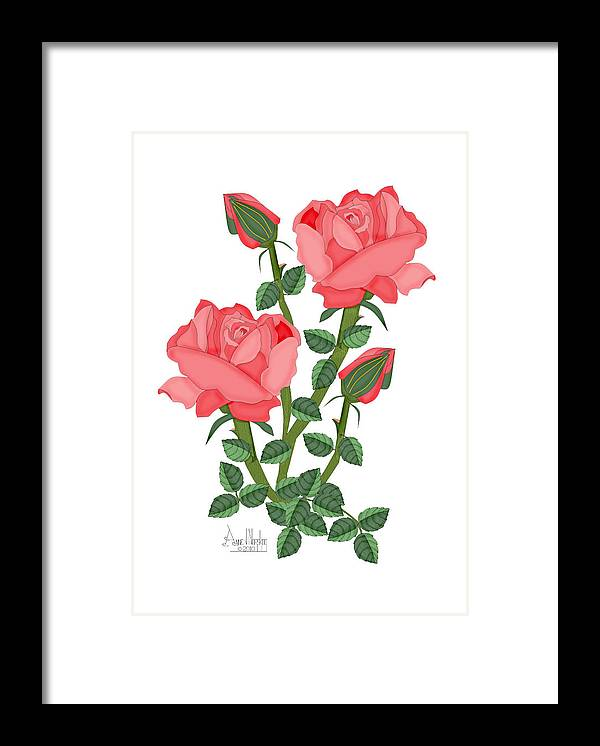 Pink Roses Framed Print featuring the painting Daiquiri Roses in January 2010 by Anne Norskog