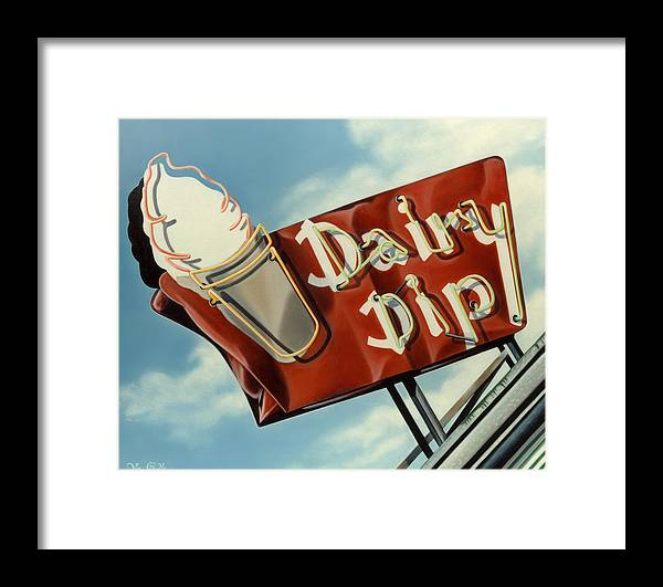 Neon Framed Print featuring the painting Dairy Dip by Van Cordle
