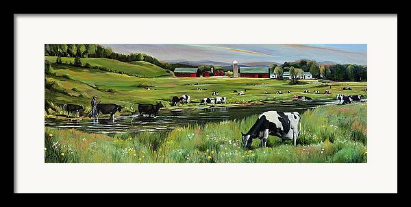 Landscape Framed Print featuring the painting Dairy Farm Dream by Nancy Griswold