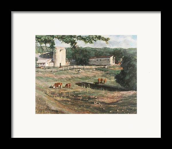 Cows Framed Print featuring the painting Dairy Farm On Route 34 by Robert Tutsky