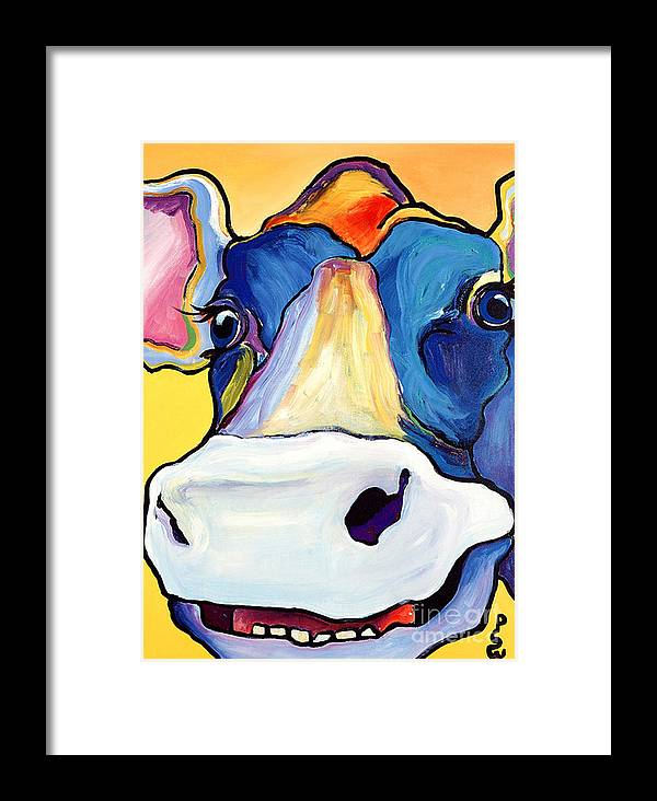 Cow Print Framed Print featuring the painting Dairy Queen I  by Pat Saunders-White