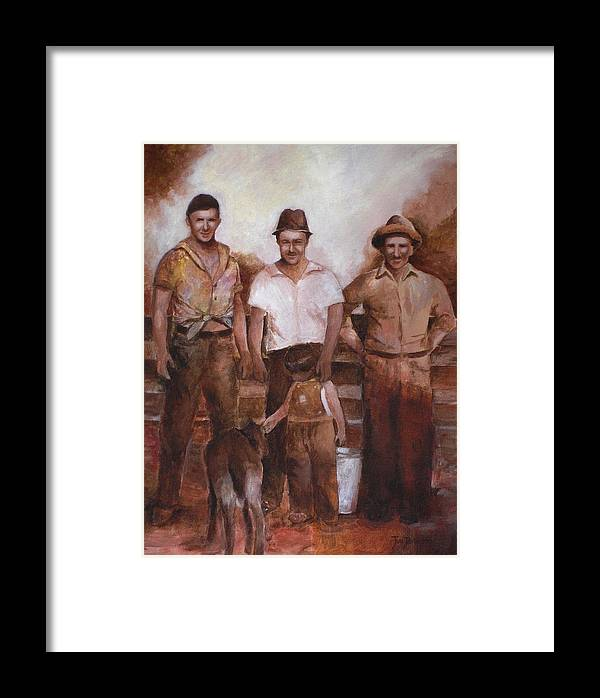 Farm Framed Print featuring the painting Dairymen by Jun Jamosmos