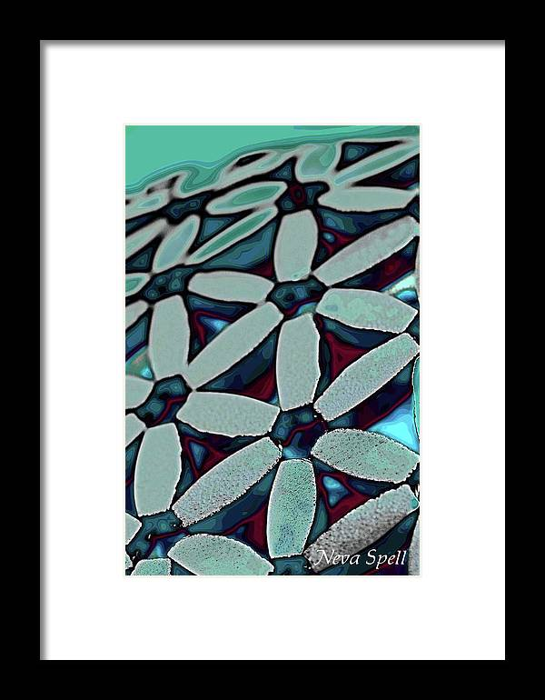 Turquoise Daisy Pattern Framed Print featuring the photograph Daises In Turquoise by Neva Spell