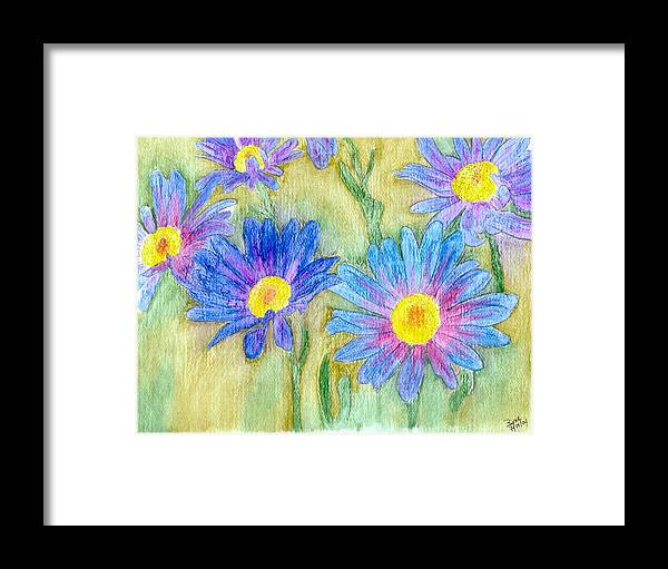 Flowers Framed Print featuring the painting Daisey Field by Margie Byrne