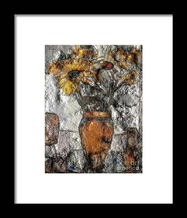 Still Life Framed Print featuring the painting Daisies 4 by Pemaro