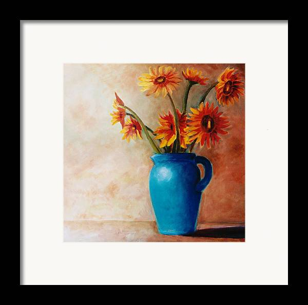 Daisies Framed Print featuring the painting Daisies And Blue by Jun Jamosmos