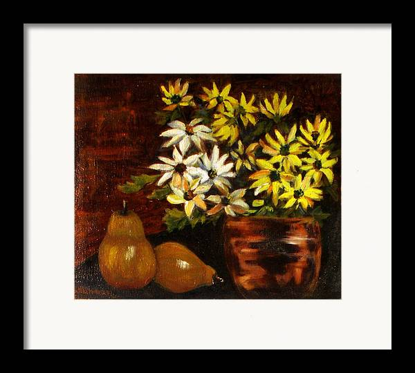 Daisies Framed Print featuring the painting Daisies And Pears by Lia Marsman