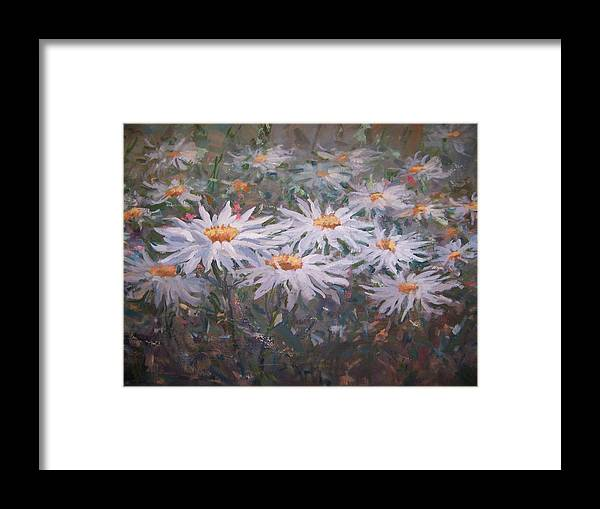 Field Of Daisies. Framed Print featuring the painting Daisies by Bart DeCeglie