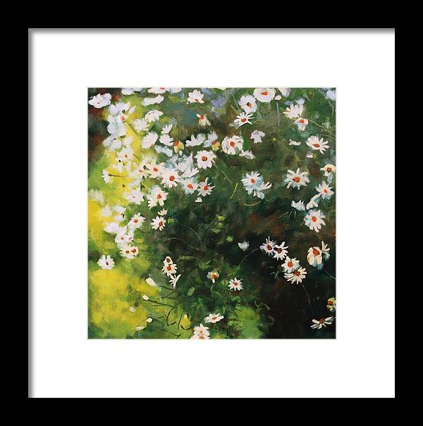 Daisies Framed Print featuring the painting Daisies by Iliyan Bozhanov