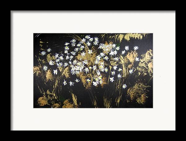 Abstract Framed Print featuring the painting Daisies In Gold Abstraction by Michela Akers