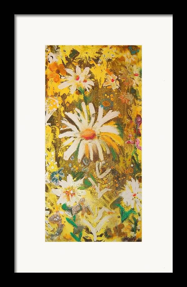 Floral Abstract Framed Print featuring the painting Daisies In The Wind Vii by Henny Dagenais