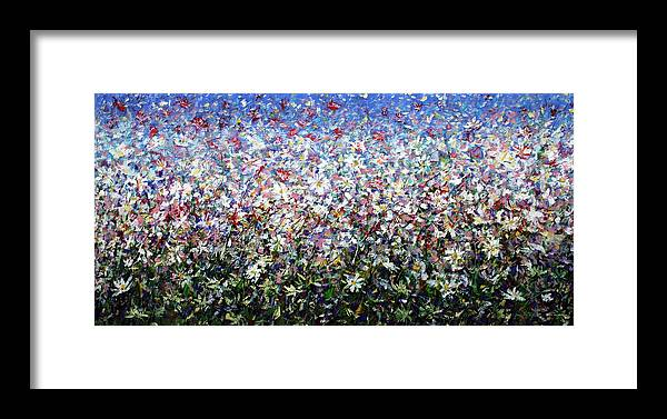 Daisies Framed Print featuring the painting Daisies by Mario Zampedroni