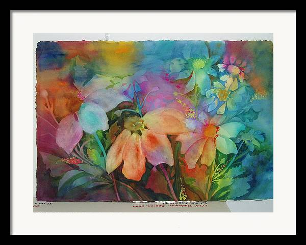 Flowers Framed Print featuring the painting Daisies by Maritza Bermudez