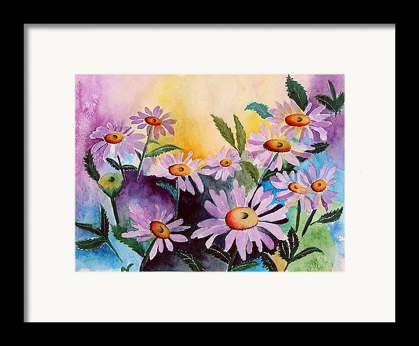 Daisies Framed Print featuring the painting Daisies by Mary Gaines