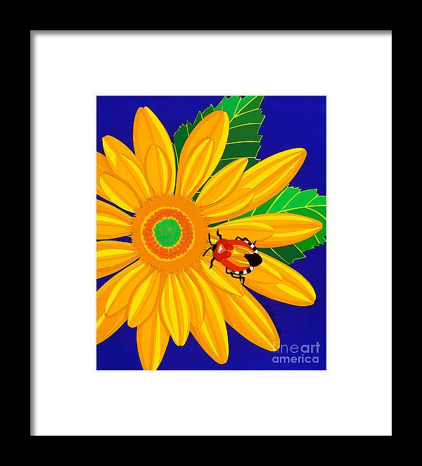 Nature Framed Print featuring the drawing Daisy And Shieldbug by Lucyna A M Green