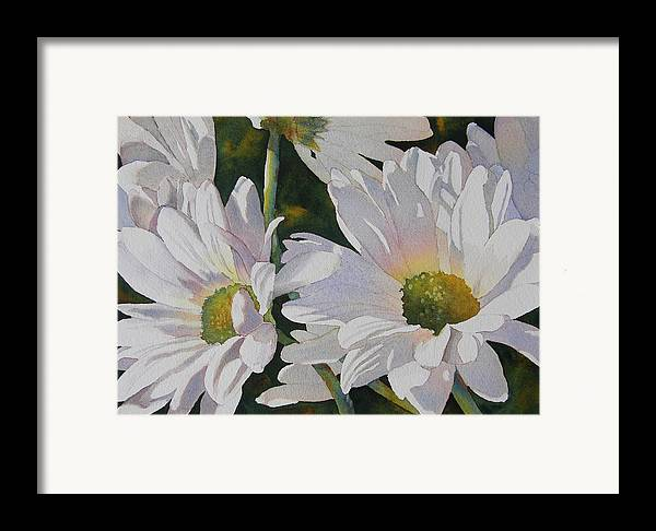 Daisy Framed Print featuring the painting Daisy Bunch by Judy Mercer