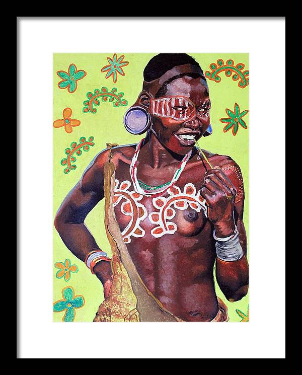 Africa Framed Print featuring the painting Daisy Child by Andre Ajibade