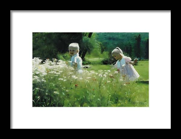 Daisy Framed Print featuring the digital art Daisy Field of Innocents by Elzire S