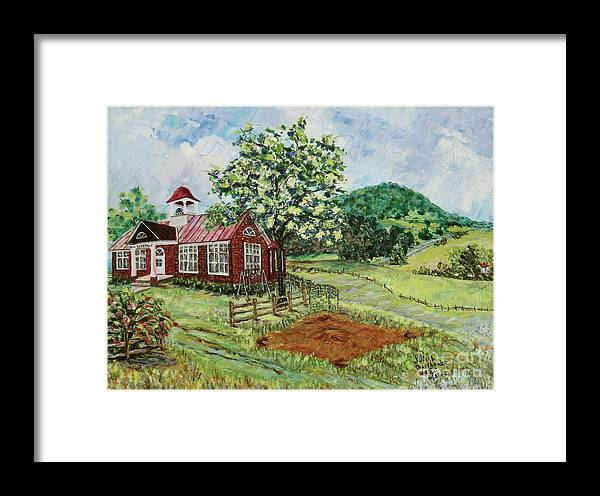 Landscape Framed Print featuring the painting Dale Enterprise School by Judith Espinoza