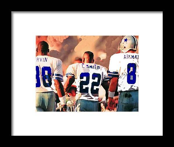 Dallas Cowboys Framed Print featuring the mixed media Dallas Cowboys Triplets by Paul Van Scott