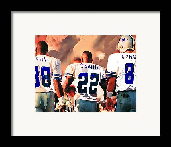 Dallas Cowboys Framed Print featuring the mixed media Dallas Cowboys Triplets by Paul Van Scott