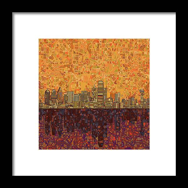 Dallas Framed Print featuring the painting Dallas Skyline Abstract by Bekim M