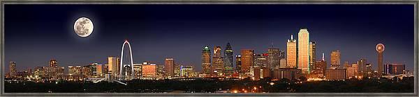 Dallas Skyline at Dusk Big Moon Night  by Jon Holiday