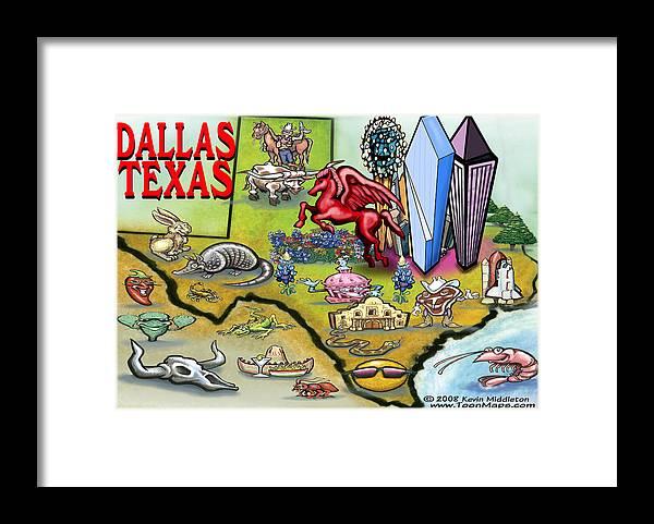 Dallas Framed Print featuring the digital art Dallas Texas Cartoon Map by Kevin Middleton