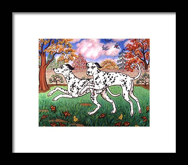 Dog Framed Print featuring the painting Dalmatians Two by Linda Mears