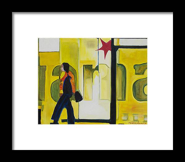 Abstract Framed Print featuring the painting Dam Shopper by Patricia Arroyo