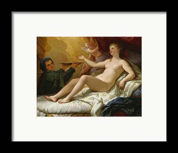 Danae Framed Print featuring the painting Danae by Paolo di Matteis