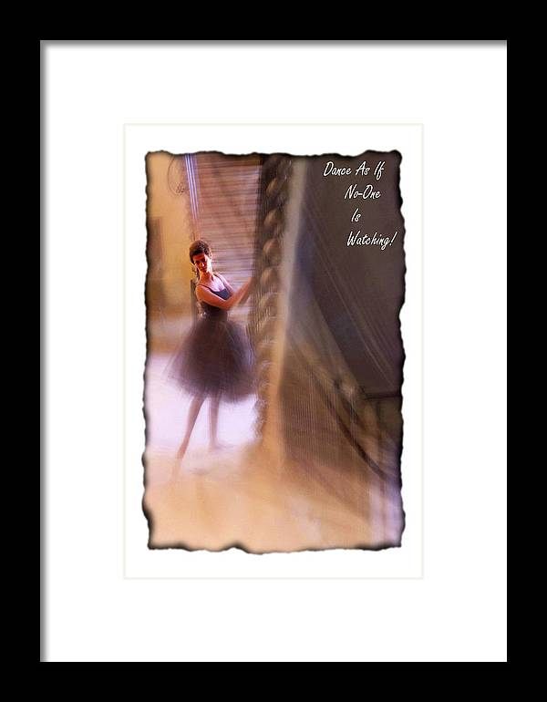 Ballerina Framed Print featuring the photograph Dance As If No-one Is Watching. by Rianna Stackhouse