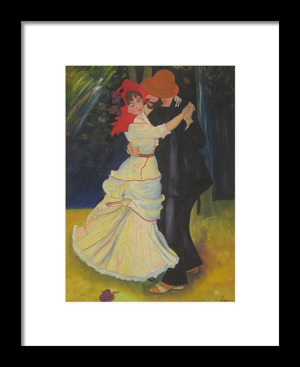 Figure Painting Framed Print featuring the painting Dance At Bougival by AVK Arts