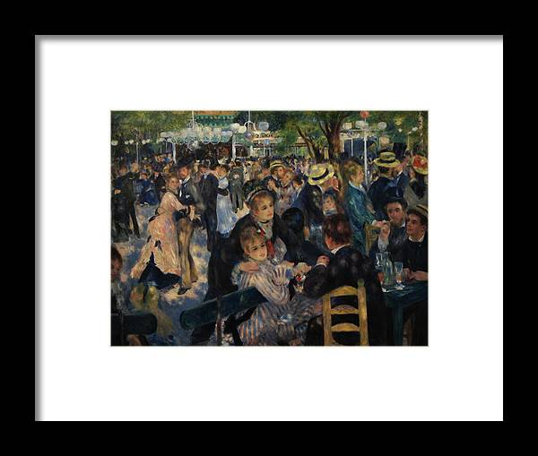 Impressionist Framed Print featuring the painting Dance at Moulin de la Galette by Pierre Auguste Renoir
