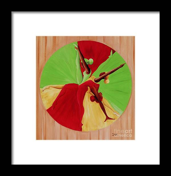Dancing Framed Print featuring the painting Dance Circle by Ikahl Beckford