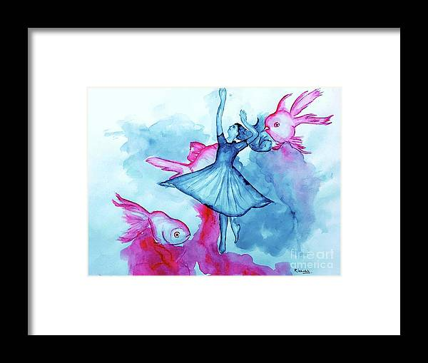 Dance Fish Framed Print featuring the drawing Dance Fish by Rishabh Ranjan