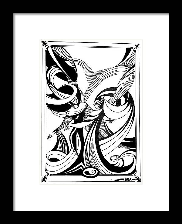 Abstract Framed Print featuring the drawing Dance by Inga Vereshchagina