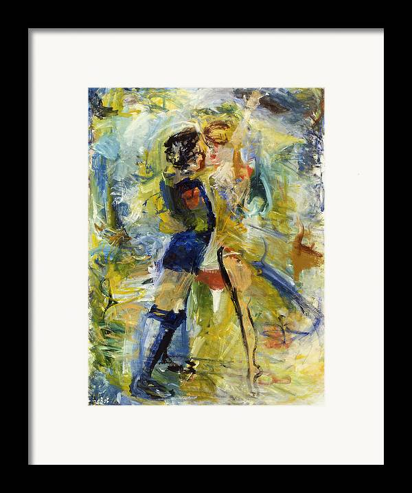 Dance Light Boy Girl Colors Framed Print featuring the painting Dance by Joan De Bot