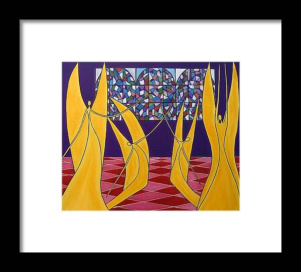 Dance Of Angels Framed Print featuring the painting Dance Of Angels by Sandra Marie Adams