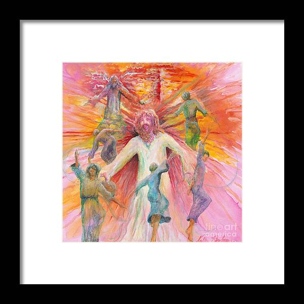 Jesus Framed Print featuring the painting Dance of Freedom by Nadine Rippelmeyer